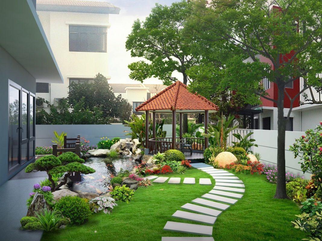 Mẫu sân vườn mini nhỏ đẹp do VTOP thiết kế và thi công