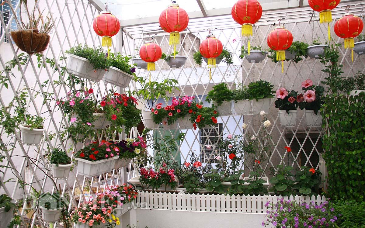 Phối hợp chậu hoa trong tiểu cảnh sân vườn, một vật liệu trang trí không thể thiếu cho không gian nhà phố