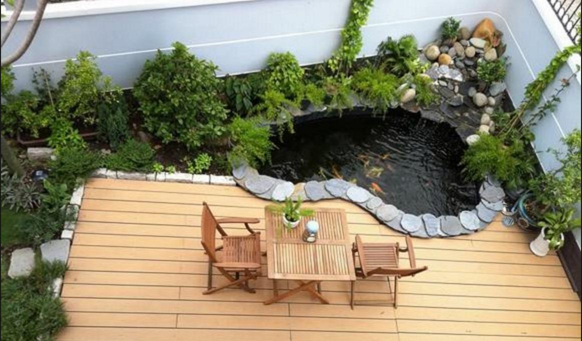 Một số mẫu hồ cá koi trên sân thượng đẹp do VTOP thiết kế và thi công
