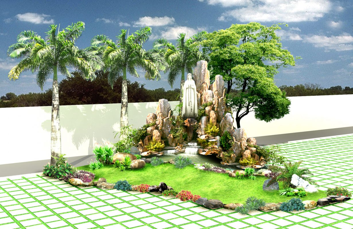 Tiểu cảnh non bộ được phân loại theo đặc tính thiết kế kiến trúc là khô và ướt