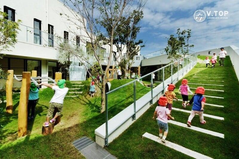 thiết kế sân vườn trường mầm non