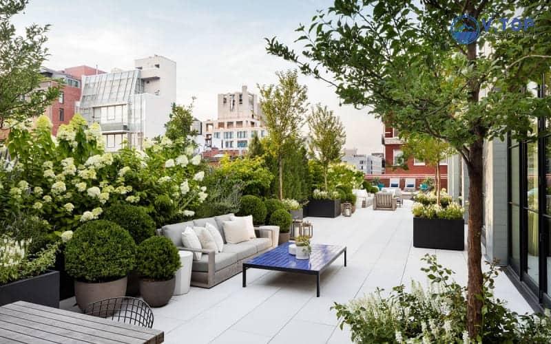 Thiết kế thi công sân vưSân thượng đẹp là một góc thư giãn hoàn hảo sau những giờ làm việc căng thẳngờn trên sân thượng