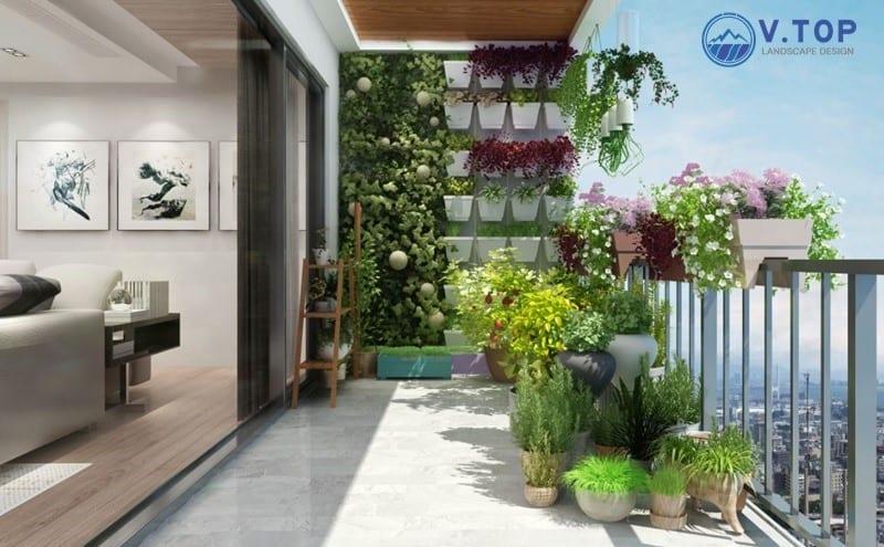 thiết kế thi công tiểu cảnh ban công chung cư