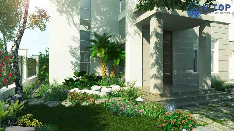 thiết kế thi công tiểu cảnh sân vườn