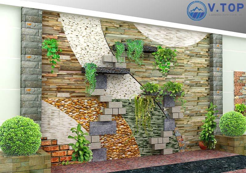 thiết kế thi công vườn tường đứng cây xanh