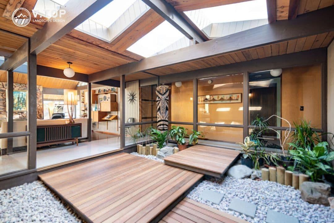 thiết kế tiểu cảnh giếng trời trong nhà