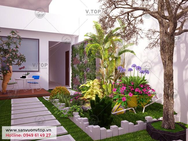 thiết kế tiểu cảnh sân vườn nhà phố