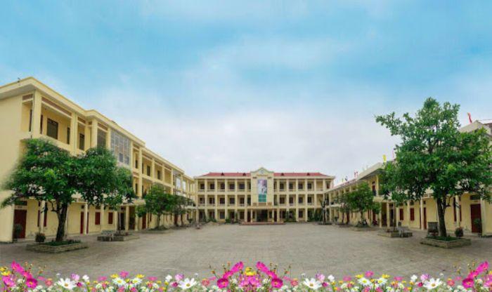 Khuôn viên trường tiểu học đẹp với cây xanh và hoa cỏ