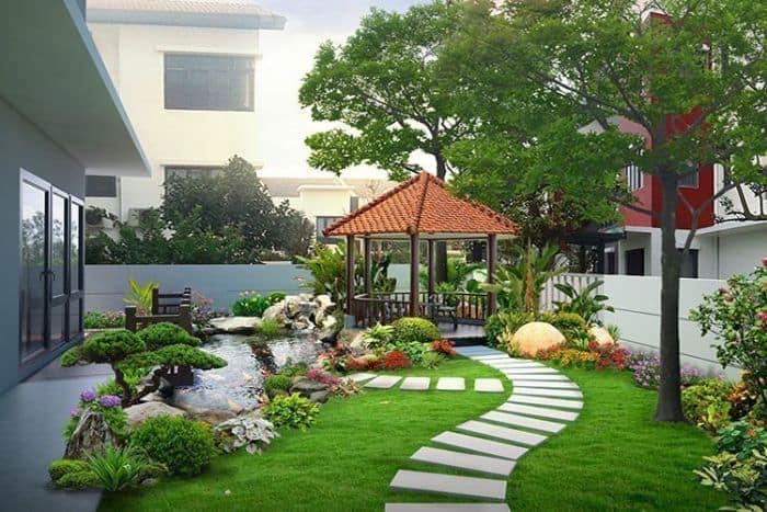 Thiết kế sân vườn biệt thự đẹp, hiện đại với cây xanh