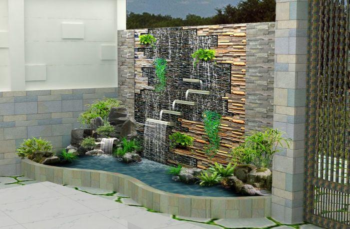 Với thác nước trên tường cách thực hiện có hơi phức tạp