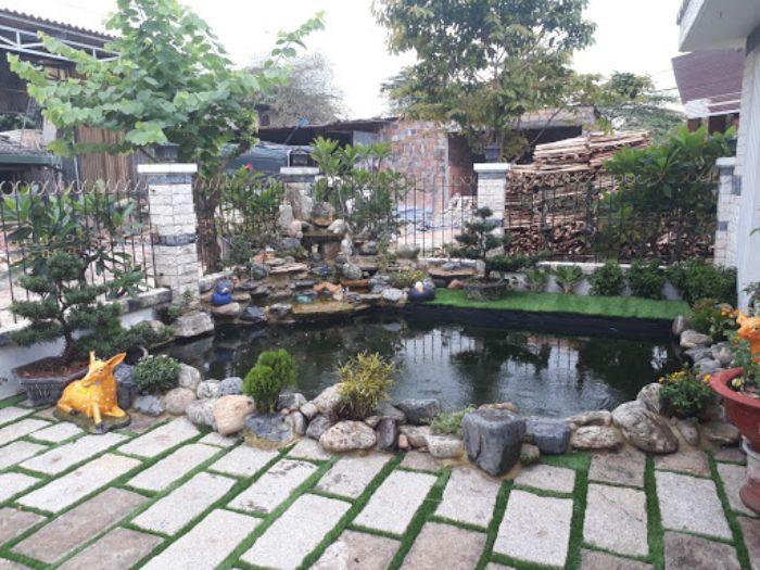 Tiểu cảnh sân vườn bằng gạch xi măng
