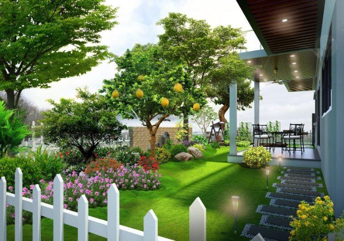 Tiểu cảnh sân vườn bằng hoa