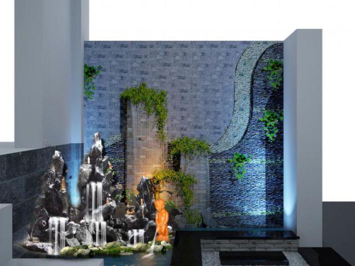 Xây dựng tiểu cảnh thác nước trong nhà giúp tạo nên không gian sống hoàn hảo