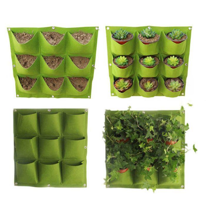 Túi trồng rau treo tường được cấu tạo từ vải địa kỹ thuật không dệt may định hình